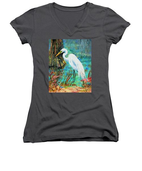 Louisiana Male Egret Women's V-Neck T-Shirt (Junior Cut) by Dianne Parks