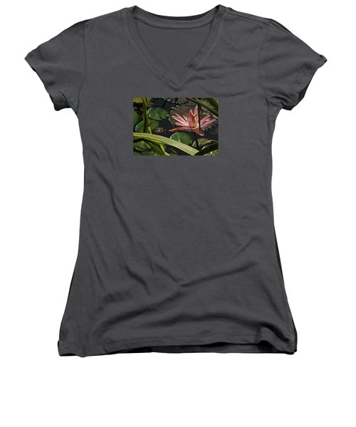 Louisiana Waterlilly Women's V-Neck (Athletic Fit)