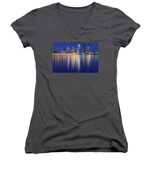 Louisville During Blue Hour Women's V-Neck T-Shirt (Junior Cut)
