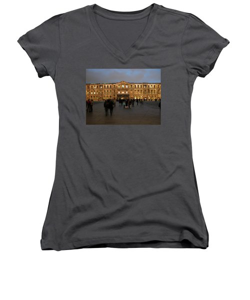 Women's V-Neck T-Shirt featuring the photograph Louvre Palace, Cour Carree by Mark Czerniec