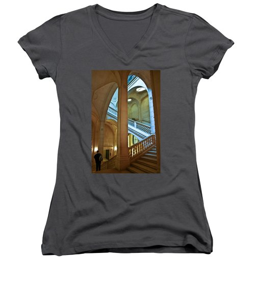 Louvre Stairwell Women's V-Neck (Athletic Fit)