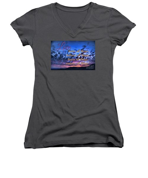 Love Bears All Things - Digital Painting Women's V-Neck T-Shirt (Junior Cut) by Sharon Soberon