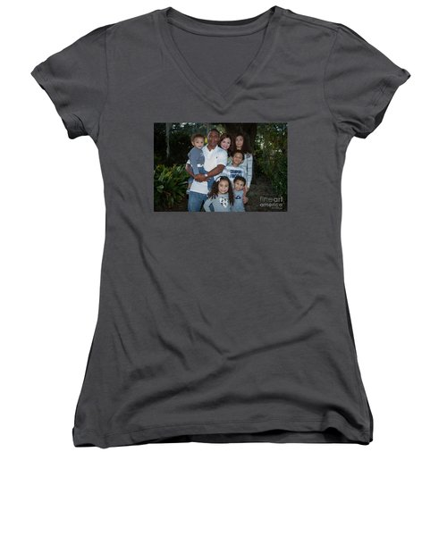 Women's V-Neck T-Shirt (Junior Cut) featuring the photograph Love Demonstrated 2 James Ingram Family Art by Reid Callaway