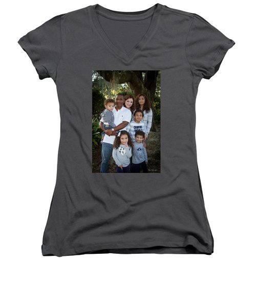 Women's V-Neck T-Shirt (Junior Cut) featuring the photograph Love Demonstrated James Ingram Family Art by Reid Callaway