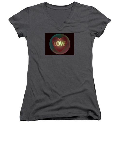Love Heart Inside A Bakelite Round Package Women's V-Neck T-Shirt (Junior Cut) by Ernst Dittmar