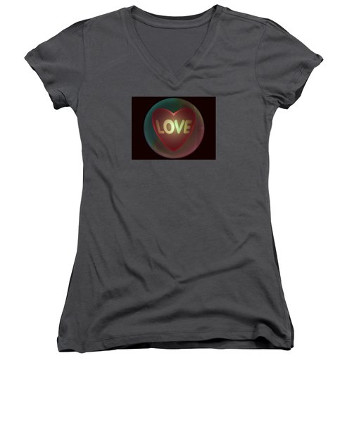Love Heart Inside A Bakelite Round Package Women's V-Neck