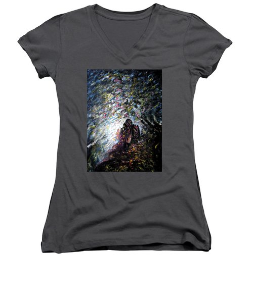 Love In Niagara Fall Women's V-Neck T-Shirt (Junior Cut) by Harsh Malik