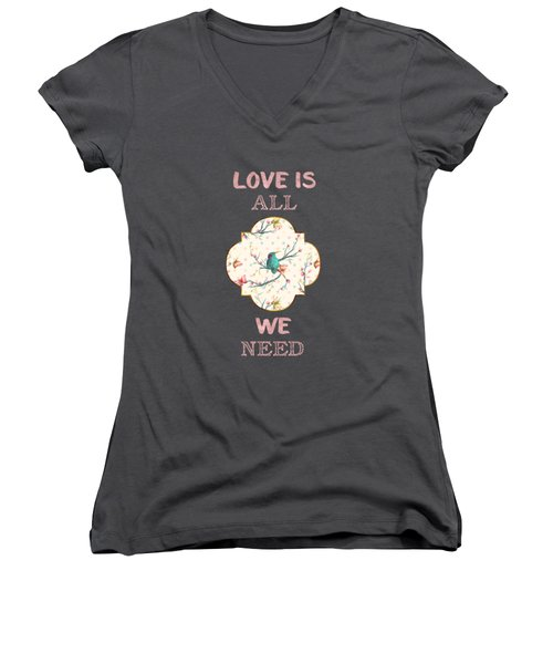 Love Is All We Need Typography Hummingbird And Butterflies Women's V-Neck