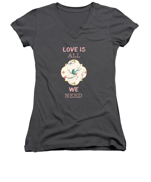 Love Is All We Need Typography Hummingbird And Butterflies Women's V-Neck T-Shirt