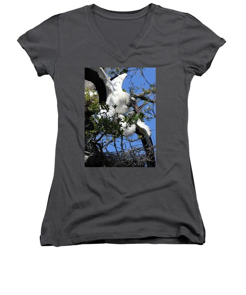 Love Is In The Air Women's V-Neck T-Shirt (Junior Cut) by Lamarre Labadie