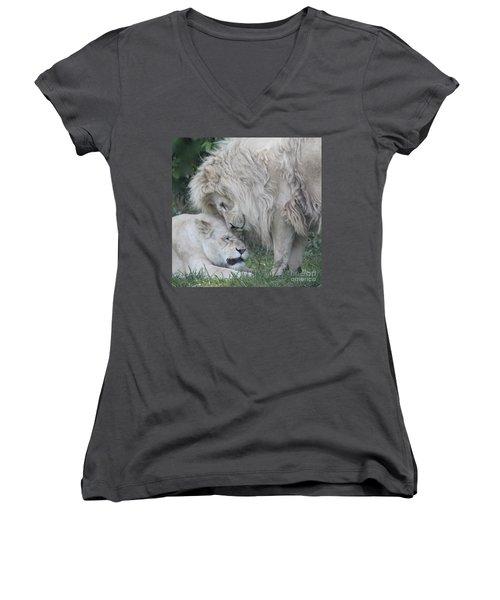 Love Lions Women's V-Neck T-Shirt