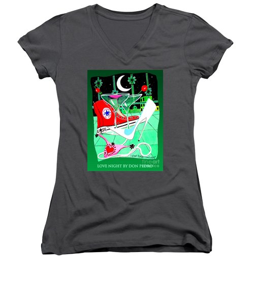 Women's V-Neck T-Shirt (Junior Cut) featuring the painting Love Night by Don Pedro De Gracia