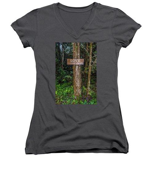 Love On A Tree Women's V-Neck T-Shirt (Junior Cut) by Josy Cue