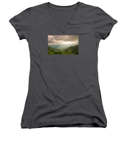 Women's V-Neck T-Shirt (Junior Cut) featuring the photograph Love Shines Down by Doug McPherson