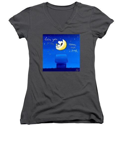 Love You To The Moon And Back Women's V-Neck T-Shirt