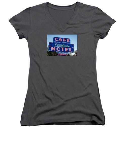 Loveless Cafe And Motel Sign Women's V-Neck T-Shirt (Junior Cut) by Debra Martz