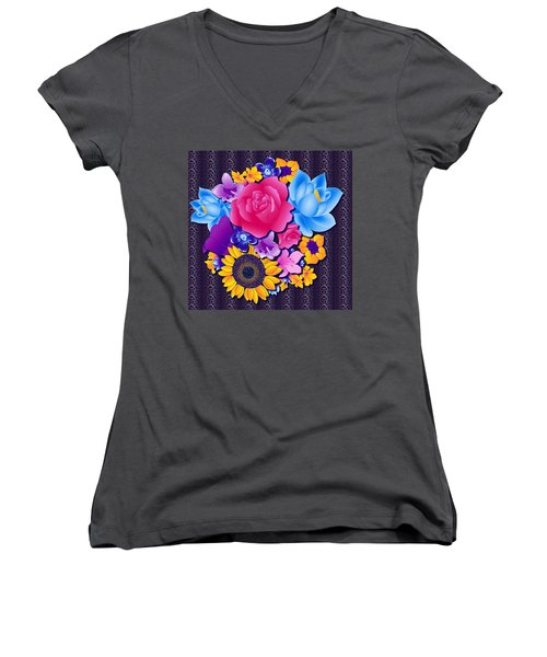Lovely Bouquet Women's V-Neck T-Shirt (Junior Cut) by Samantha Thome
