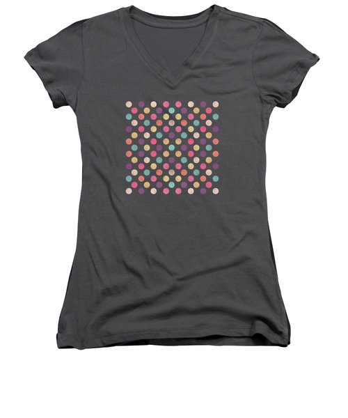 Lovely Polka Dots  Women's V-Neck T-Shirt