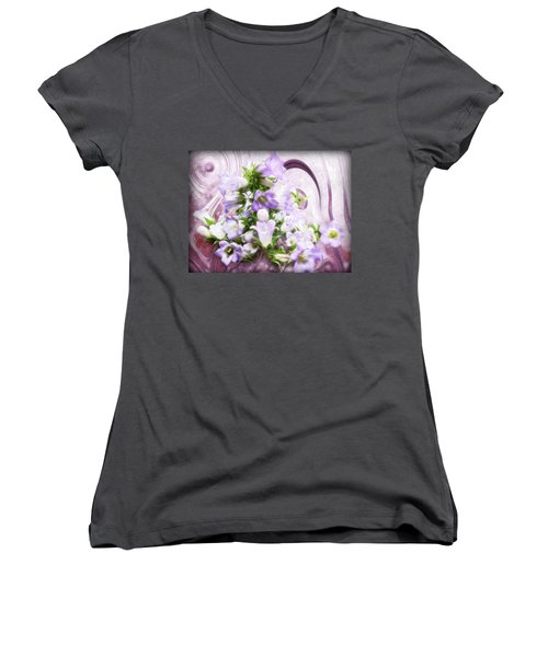 Women's V-Neck T-Shirt (Junior Cut) featuring the mixed media Lovely Spring Flowers by Gabriella Weninger - David