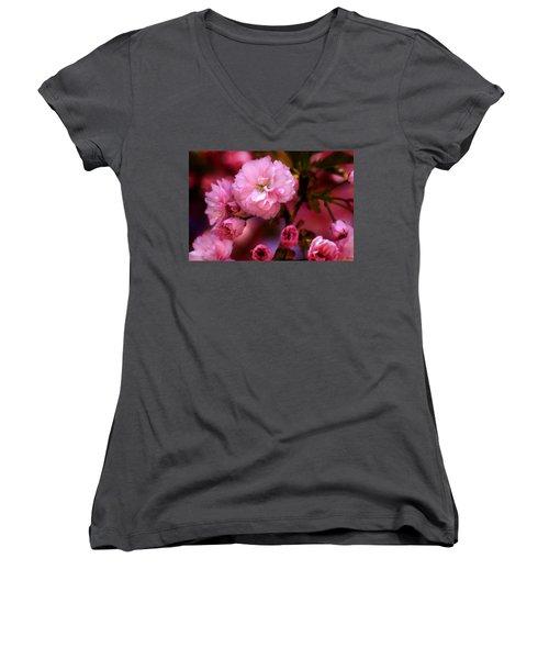 Lovely Spring Pink Cherry Blossoms Women's V-Neck
