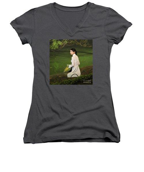 Lovely Vietnamese Woman  Women's V-Neck T-Shirt (Junior Cut) by Chuck Kuhn