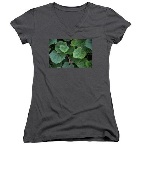 Low Key Green Vines Women's V-Neck T-Shirt (Junior Cut) by Jingjits Photography