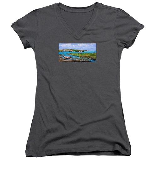 Low Tide Women's V-Neck T-Shirt (Junior Cut) by Mike Caitham