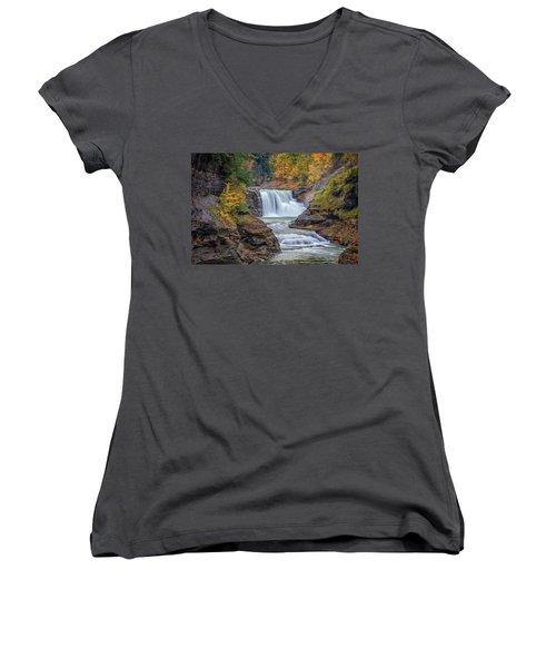 Lower Falls In Autumn Women's V-Neck