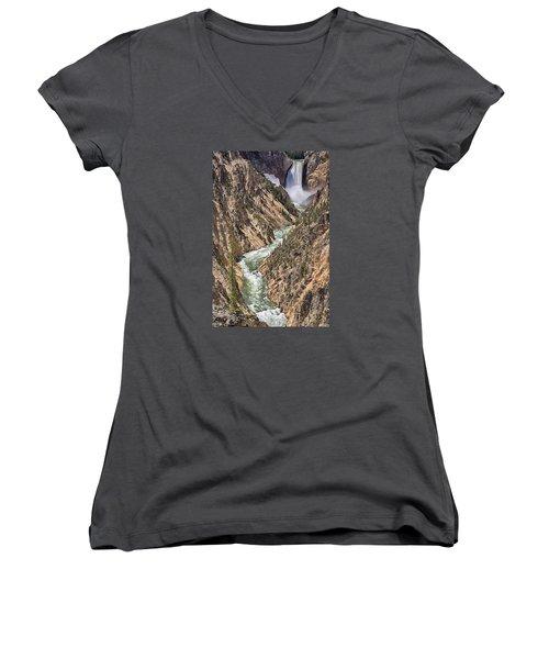 Lower Falls Women's V-Neck T-Shirt (Junior Cut) by John Gilbert