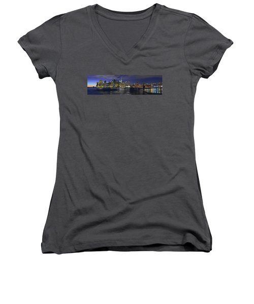Lower Manhattan From Brooklyn Heights At Dusk - New York City Women's V-Neck