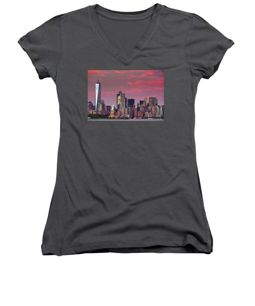 Women's V-Neck T-Shirt (Junior Cut) featuring the photograph Lower Manhattan In Pink by Emmanuel Panagiotakis