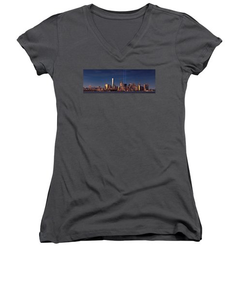 Women's V-Neck T-Shirt (Junior Cut) featuring the photograph Lower Manhattantribute In Light by Emmanuel Panagiotakis