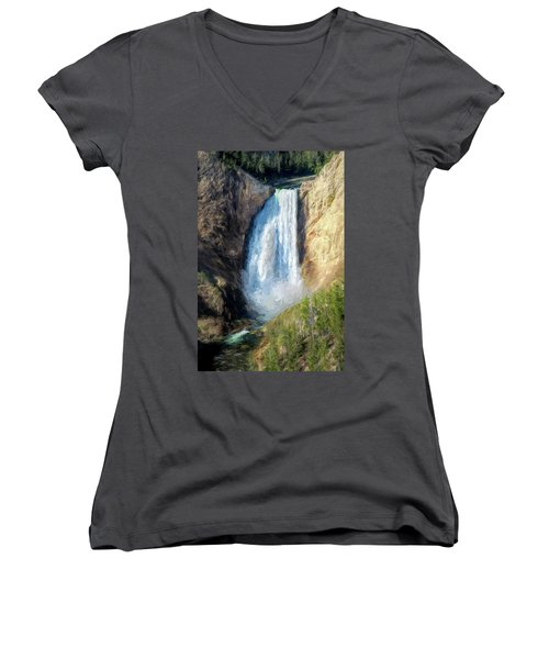 Lower Yellowstone Falls Women's V-Neck (Athletic Fit)