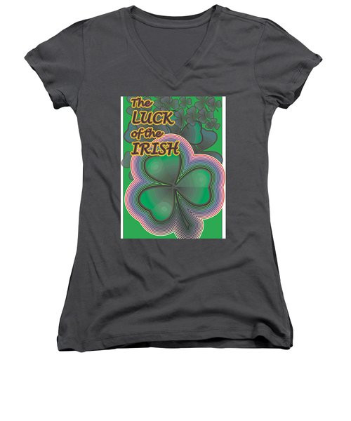 Luck Of The Irish Women's V-Neck T-Shirt (Junior Cut) by Sherril Porter