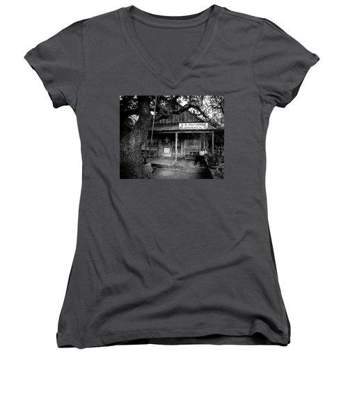 Women's V-Neck T-Shirt (Junior Cut) featuring the photograph Luckenbach Texas by David Morefield