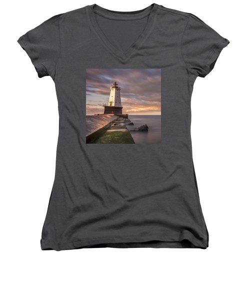 Women's V-Neck T-Shirt (Junior Cut) featuring the photograph Ludington North Breakwater Light At Dawn by Adam Romanowicz