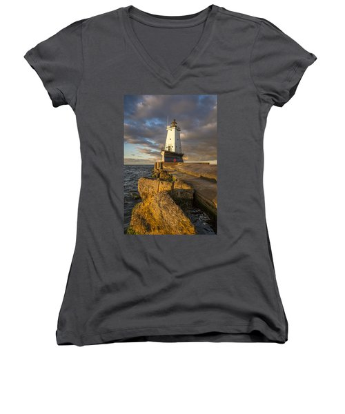 Women's V-Neck T-Shirt (Junior Cut) featuring the photograph Ludington North Breakwater Lighthouse At Sunrise by Adam Romanowicz