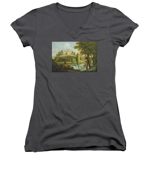 Ludlow Castle With Dinham Weir Women's V-Neck (Athletic Fit)