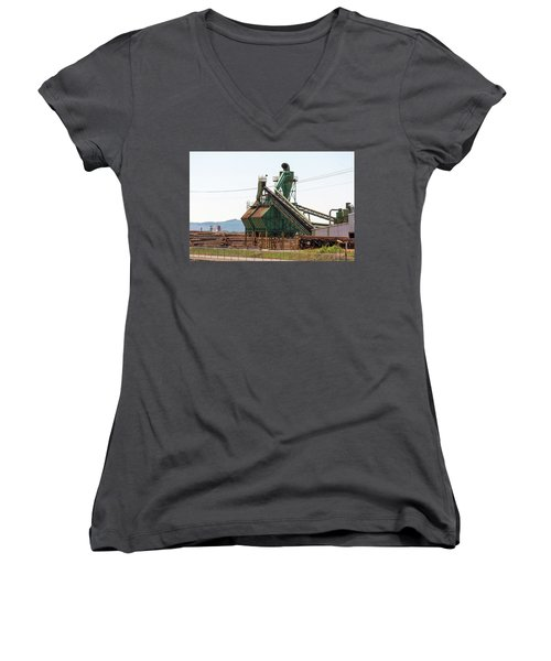 Lumber Mill Sawdust Machinery Women's V-Neck (Athletic Fit)