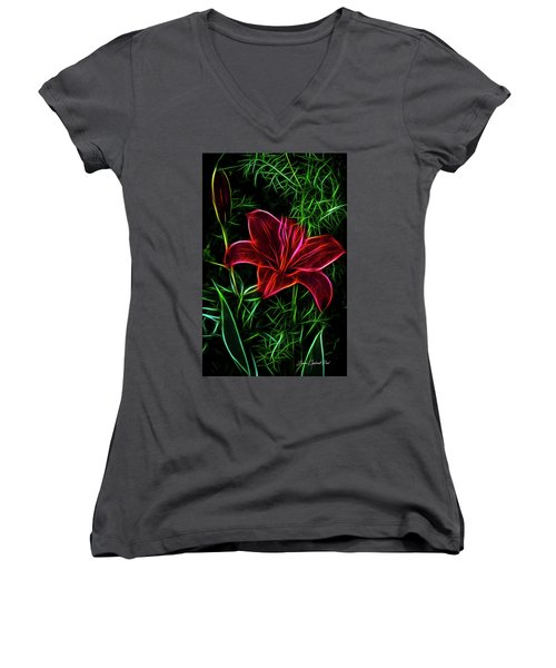 Luminous Lily Women's V-Neck T-Shirt (Junior Cut) by Joann Copeland-Paul