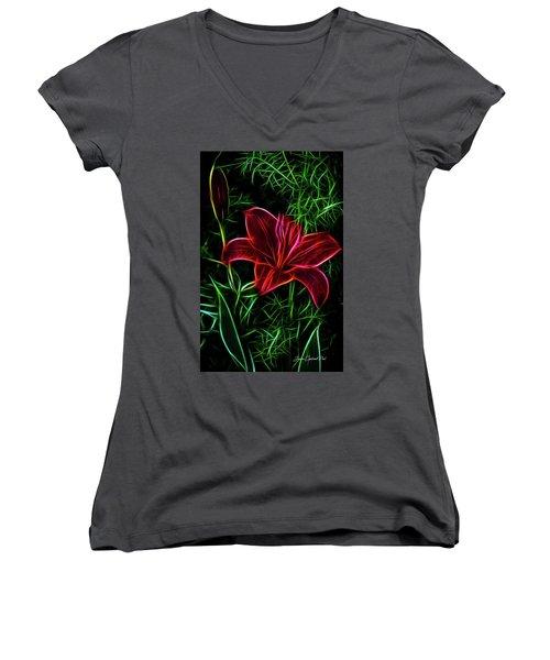 Luminous Lily Women's V-Neck (Athletic Fit)