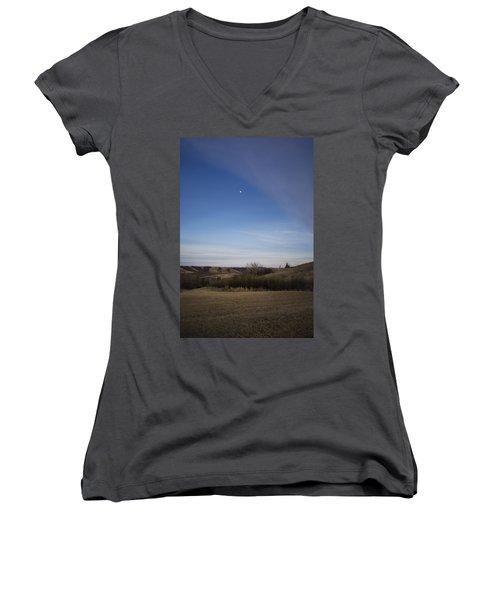 Lumsden Moon Rising Women's V-Neck T-Shirt (Junior Cut) by Ellery Russell