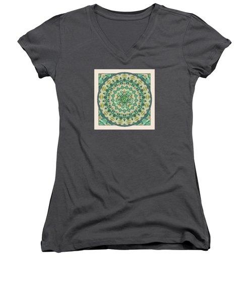 Women's V-Neck T-Shirt (Junior Cut) featuring the digital art Luna Meditation Mandala by Deborah Smith