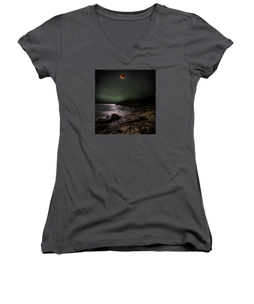 Lunar Eclipse Over Great Head Women's V-Neck T-Shirt (Junior Cut) by Brent L Ander