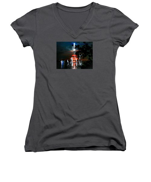 Lunar Event Horizon Women's V-Neck T-Shirt (Junior Cut) by Glenn Feron