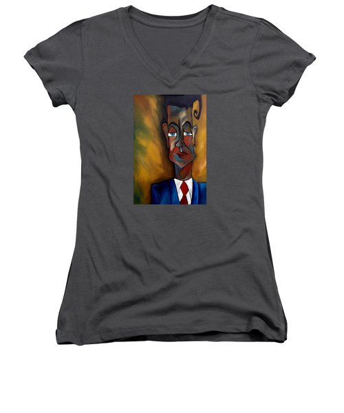 Lunatic Mentor Women's V-Neck T-Shirt (Junior Cut) by Tom Fedro - Fidostudio