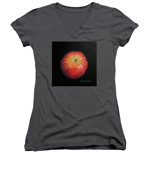 Lunch Apple Women's V-Neck T-Shirt (Junior Cut) by Marna Edwards Flavell