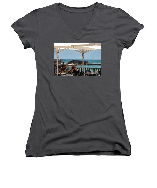 Women's V-Neck featuring the photograph Lunch At The Mediterranean by Mae Wertz