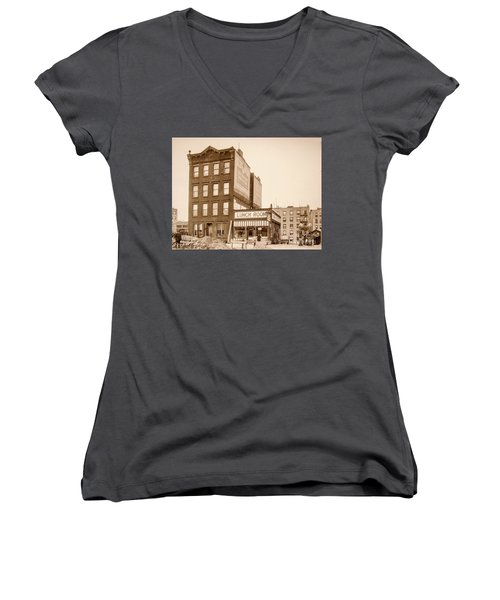 Women's V-Neck T-Shirt featuring the photograph Lunchroom  by Cole Thompson