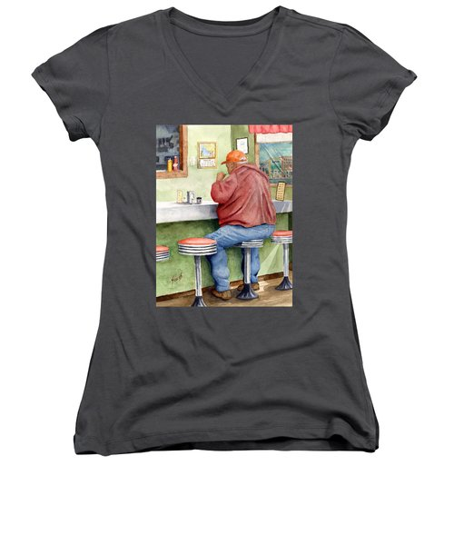 Lunchtime Women's V-Neck T-Shirt (Junior Cut) by Sam Sidders